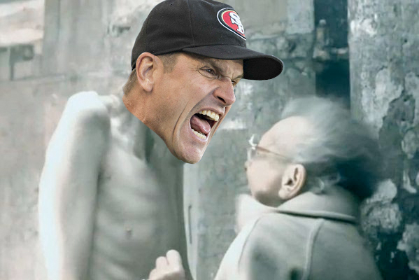 Pictured: Harbaugh's meeting with Trent Baalke after the season ends.