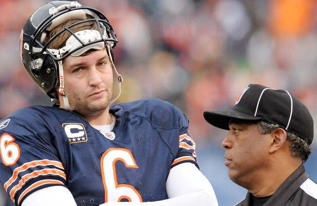 "Cutler: ""Personal foul on D.T. for roughing the passer"" Ref: ""Shut the fuck up, Jay."""